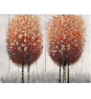 WOODEN FALL | 30in X 40in | Wooden Panel With Painted Fall Trees