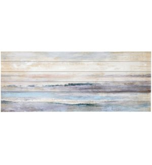 CALM SEAS | 50in w. X 20in ht. X 2in d. | Hand Painted Coastal Wood Art
