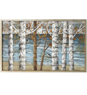 WINTER IN THE BIRCHES | 50in w. X 30in ht. X 2in d. | Landscape Wood Art