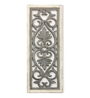TRADITIONAL SCROLL | 41in ht  X 17in w  X 1in d  | Traditional Metal Motif Painted & Weathered Wall