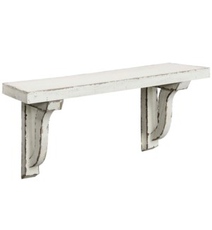 Antique White Shelf   24in X 11in X 7in   Distressed Painted Wood Wall Shelf