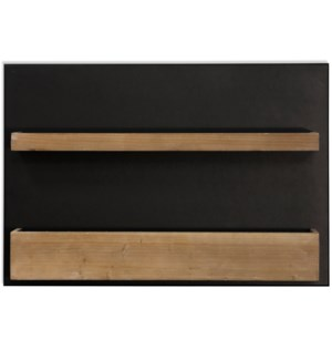 EBONY & PINE | 19in ht X 28in w X 5in d | Painted Metal Wall Hanging Unit with Washed Pine Wood Shel