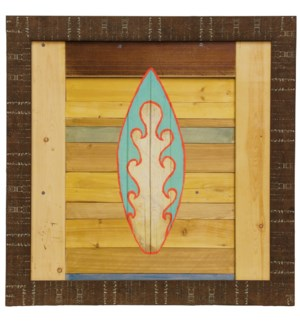 Blue Surfboard | Made in USA | Juvenile Coastal Collection Wall Art | Framed Print Under Glass