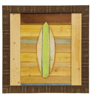 Green Surfboard | Made in USA | Juvenile Coastal Collection Wall Art | Framed Print Under Glass