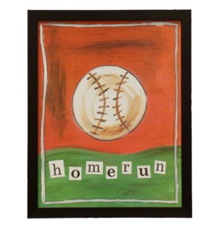 Homerun | Made in USA | Juvenile Sports Collection Wall Art | Textured Framed Print
