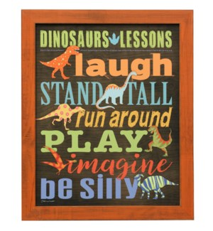 DINOSAURS LESSONS | 23in X 19in | Made in the USA | Framed Print Under Glass