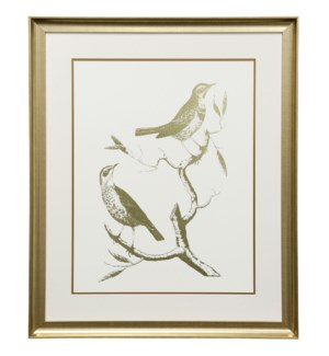 Gold Foil Birds I | 30in X 36in | Framed Print Under Glass