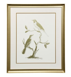 Gold Foil Birds II | 30in X 36in | Framed Print Under Glass