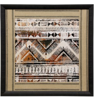 African Patterning I | 33in X 33in | Framed Print Under Glass