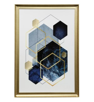Abstract Geo Blue | 39in X 27in | Framed Print Under Glass