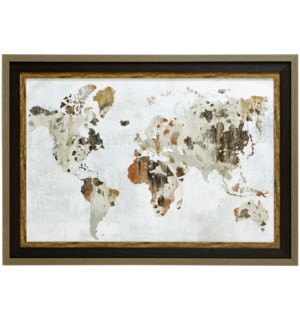 COWHIDE MAP   29inx41in   Made in the USA   Textured Framed Print