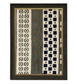 HAND PAINTED BLUE RUG I   34in X 25in   Made in the USA   Textured Framed Print