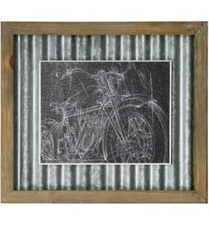 MOTORCYCLE SKETCH I   14in X 16in   Made in the USA   Textured Framed Print