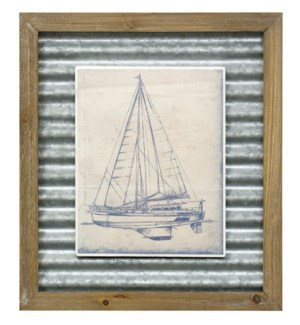YACTH BLUEPRINT I | 16in X 14in | Made in the USA | Textured Framed Print