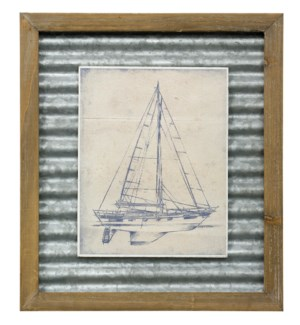 YACTH BLUEPRINT IV | 16in X 14in | Made in the USA | Textured Framed Print