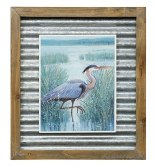 WETLAND HERON I | 16in X 14in | Made in the USA | Textured Framed Print