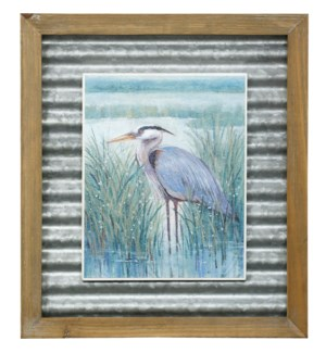 WETLAND HERON II | 16in X 14in | Made in the USA | Textured Framed Print
