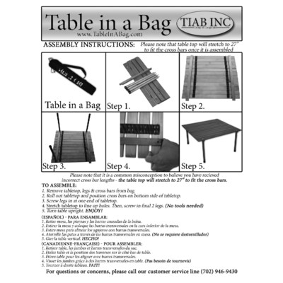 Silver Low Aluminum Table in a Bag