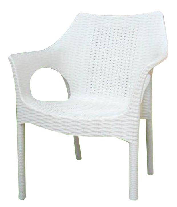 CAMWHTA. White Commercial Grade Armrest Chair
