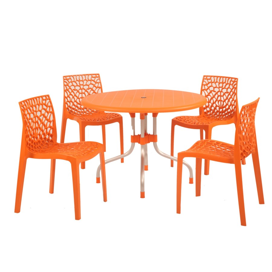 Orange Round Shape Commercial Grade Table