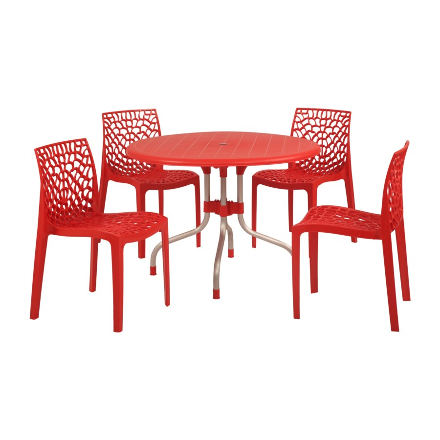 Red Round Shape Commercial Grade Table
