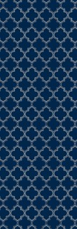Quaterfoil Design- Size Rug: 2ft x 6ft blue & white