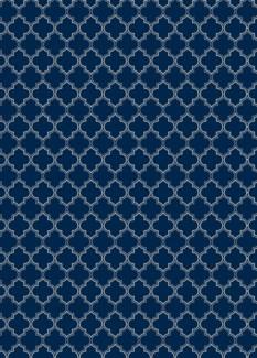 Quaterfoil Design- Size Rug: 5ft x 7ft blue & white