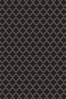Quaterfoil Design- Size Rug: 2ft x 3ft black & white