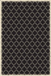 Quaterfoil Design- Size Rug: 4ft x 6ft black & white