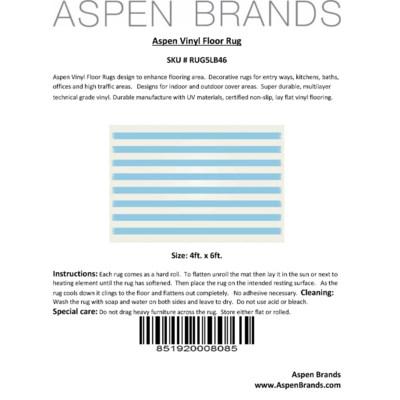 Strips of European Design - Size Rug: 4ft x 6ft light blue & white colors