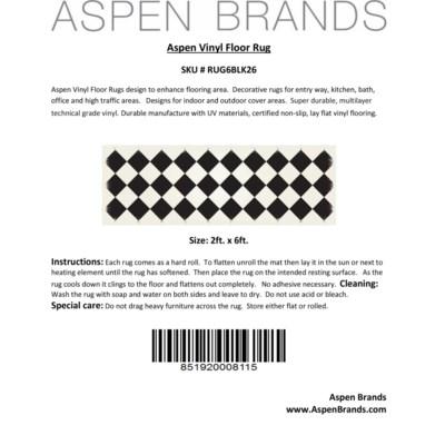 Diamond European Design - Size Rug: 2ft x 6ft black & white colors