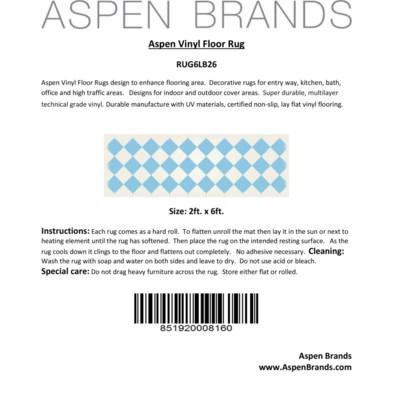 Diamond European Design - Size Rug: 2ft x 6ft light blue & white colors