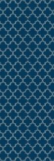 Quaterfoil Design- Size Rug: 2ft x 6ft blue & white
