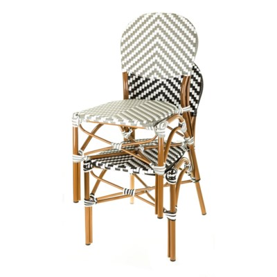 White & Navy - Modern Cafe Bistro Chair