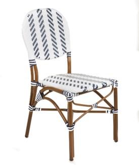 White & Navy - Modern Cafe Bistro Chair