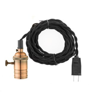 Copper finish socket on single 15 foot drop cord