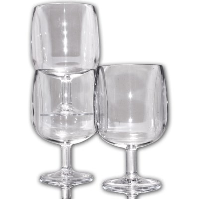 Clear BPA Plastic Stackable wine glasses