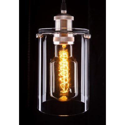 Nickel Hanging Glass Shade Light