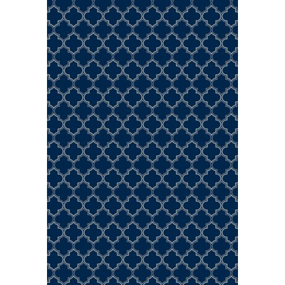 Quaterfoil Design- Size Rug: 2ft x 3ft blue & white
