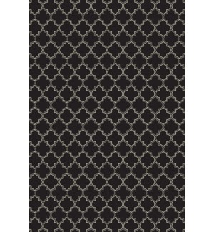 Quaterfoil Design- Size Rug: 2ft x 3ft black & white