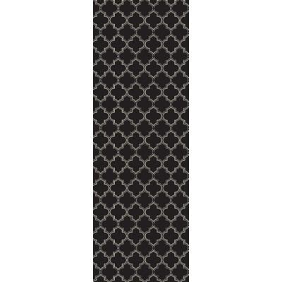 Quaterfoil Design- Size Rug: 2ft x 6ft black & white