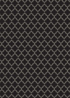 Quaterfoil Design- Size Rug: 5ft x 7ft black & white