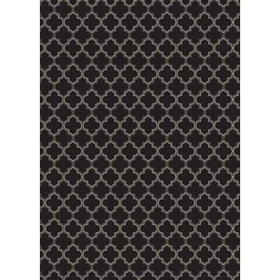 Quaterfoil Design- Size Rug: 5ft x 7ft black & white