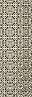 Quad European Design - Size Rug: 2ft x 6ft Black & White