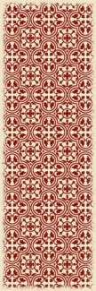 Quad European Design - Size Rug: 2ft x 6ft red & white
