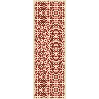 Quad European Design - Size Rug: 2ft x 6ft red & white