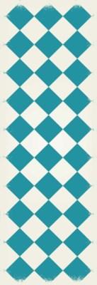 Diamond European Design - Size Rug: 2ft x 6ft teal & white colors