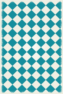 Diamond European Design - Size Rug: 4ft x 6ft teal & white colors