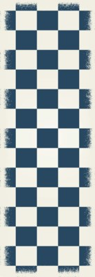 English Checker Design - Size Rug: 2ft x 6ft blue & white colors