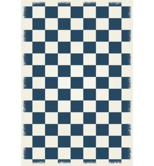 English Checker Design - Size Rug: 4ft x 6ft blue & white colors